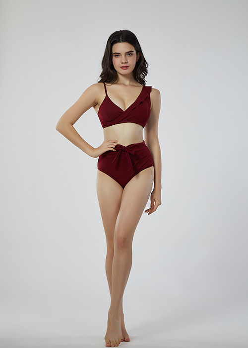 2019 Hot New Deep-V Ruffle Bikini Beach Sexy Two Pieces swimwear