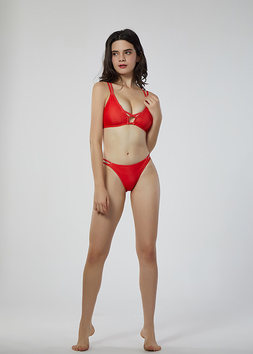 Custom Made Red Thin Cross Strap Bikini V Neck Two Piece bathing suits for Women