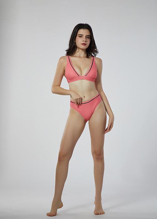 Custom Made Red Thin Cross Strap Bikini V Neck Two Piece Beach Wear for Women