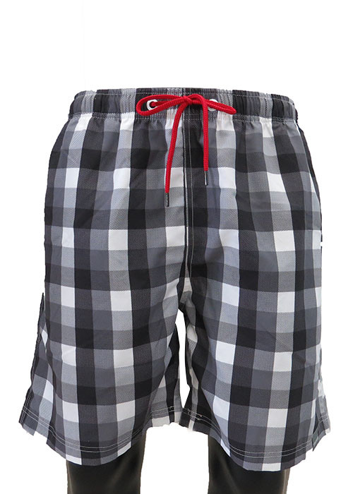 Classic black and white plaid breathable men beach short board shorts