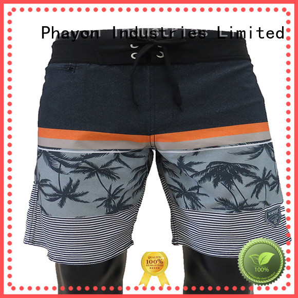 PHAYON black beach shorts for guys supplier for holiday