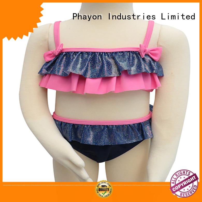 New Design Front Ruffle Girls' Bikini Butterfly Knot Children Swimwear bathing suit