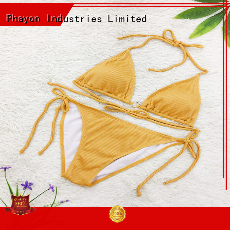 2019 wholesale custom triangle bikini set sexy bathing suits  with solid color