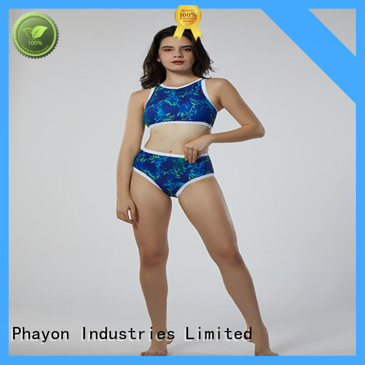 cat pattern ladies swimwear sale with back hollow for swimming pool