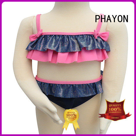 New Design Front Ruffle Girls' Bikini Butterfly Knot Children Swimwear bathing suit